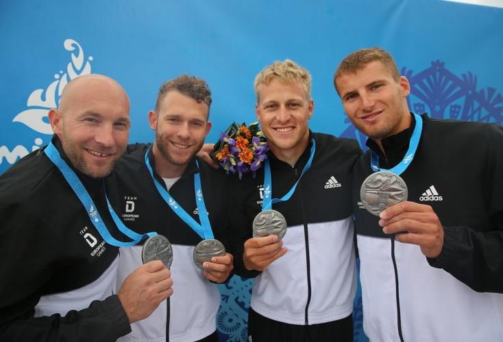 Kanurennsport: Silber für OSP-Athlet Max Rendschmidt (Zweiter von rechts) im K4 über 500m (Bild: DOSB)