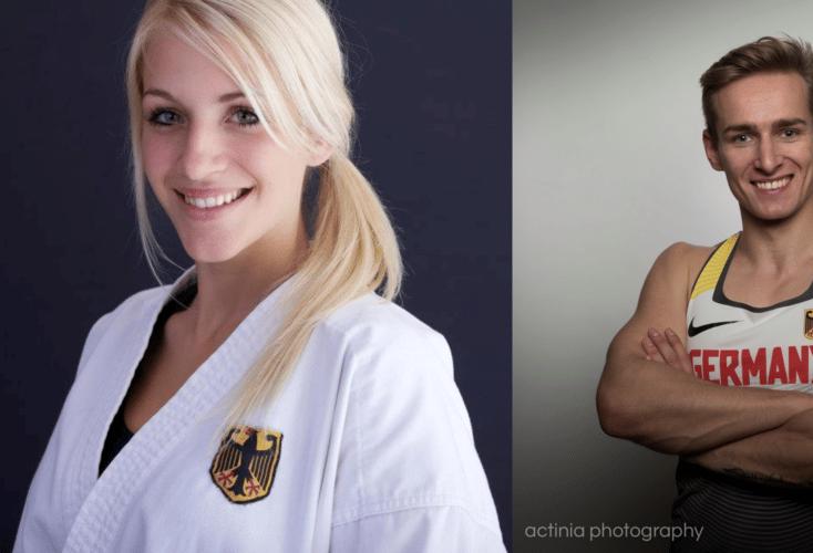 Unsere Nominierten zum Sportstipendiaten 2019: Jana Bitsch und Johannes Floors (Bild links: Deutscher Karate-Verband, Bild rechts: actinia photography)