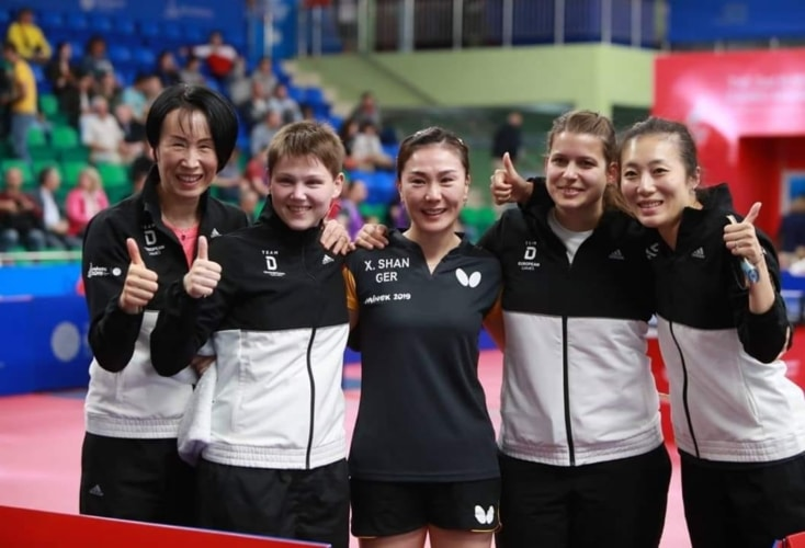 Großer Freude bei den deutschen Tischtennis-Damen über Gold bei den Europaspielen und die Qualifikation für Tokio 2020 (Bild: Deutscher Tischtennis Bund)