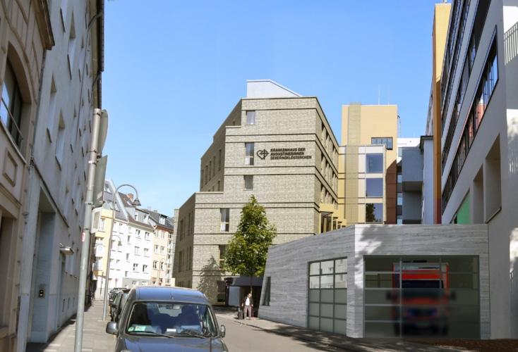Außenansicht des Krankenhauses der Augustinerinnen nach Fertigstellung des Erweiterungsbaus, dessen Baumaßnahmen vor einiger Zeit begonnen haben (Quelle: Krankenhaus der Augustinerinnen)