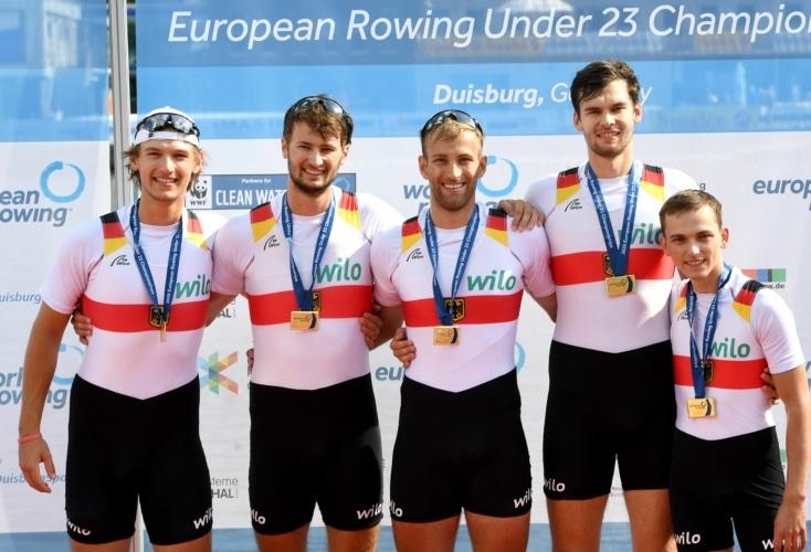 Bild zur News Rudern: Vierer mit Steuermann wird U23-Europameister